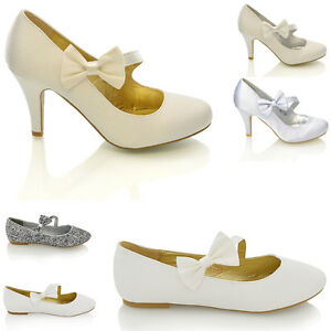 Womens-Ladies-Bridal-Shoes-Low-Mid-Heel-Satin-Bow-Party-Classic-Flat-Court-Pumps