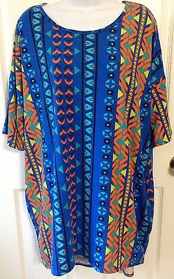 LuLaRoe Irma Tunic 2XL Blue Orange Yellow Black Multicolor Geometric Pattern EUC