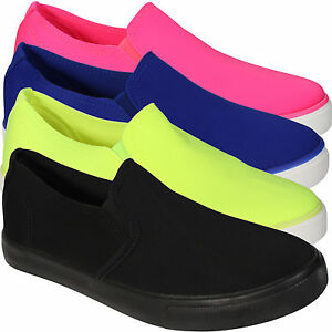 New Summer Flat Ladies Slip on Womens Skater Comfy Girls Casual Loafers Shoes
