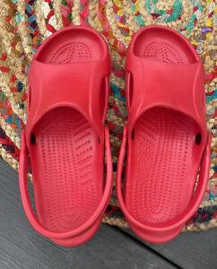 Crocs Red Slip On Open Toe Croslite Sandals Clogs Women's Size 9 Comfort Shoes