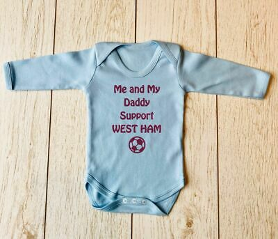 West Ham Me and My Daddy Love Hammers Claret Baby grow Bodysuit Bandana Bib