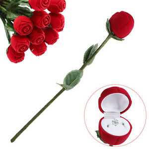 Image Is Loading Fad Red Rose Engagement Wedding Ring Box