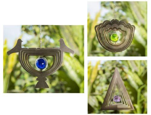 Windspiel 3D Edelstahl mit Glaskugel Garten Gartendekoration Deko Wind Spiel