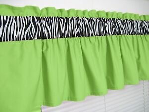 3 Inch Wide Rod Pocket Lime Green And Zebra Valance Window Curtain