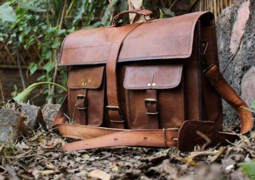 """Men 16/"""" Messenger Genuine Vintage Leather Shoulder Laptop office Bag briefcase"""