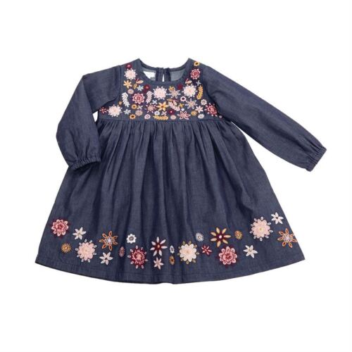 New Mud Pie Blue Chambray Floral Embroidery Girls Dress Size 24M//2T
