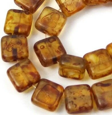 25 Czech Glass Square Beads - Matte - Crystal Picasso 6mm