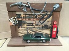 Handmade Wooden Framed Gas Station Diorama with 1:24 70 Monte Carlo Die Cast Car