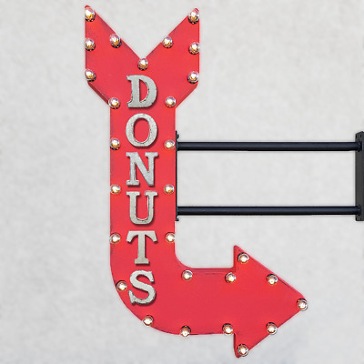 "39/"" DONUTS Bakery Sweets Treats Yummy Vintage Rustic Metal Marquee Light Up Sign"