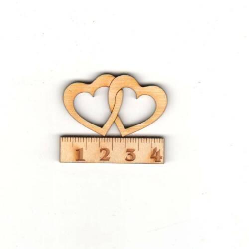 Doble corazón 4cm madera dekoherzen hochzeitsdeko centro de mesa bodas corazones regalo