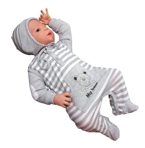 2-tlg Baby Set Strampler mit Shirt grau NEU Gr.56,62,68,74