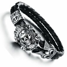 Men Gothic Stainless Steel Braided Leather Skull Cross Love Bracelet Bangle Cuff