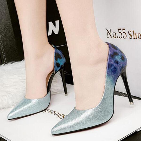 Decolte scarpe scarpe scarpe stiletto 10.5 cm eleganti blu aperto sfumato simil pelle CW943 | Per Vincere Elogio Caldo Dai Clienti  8b881f