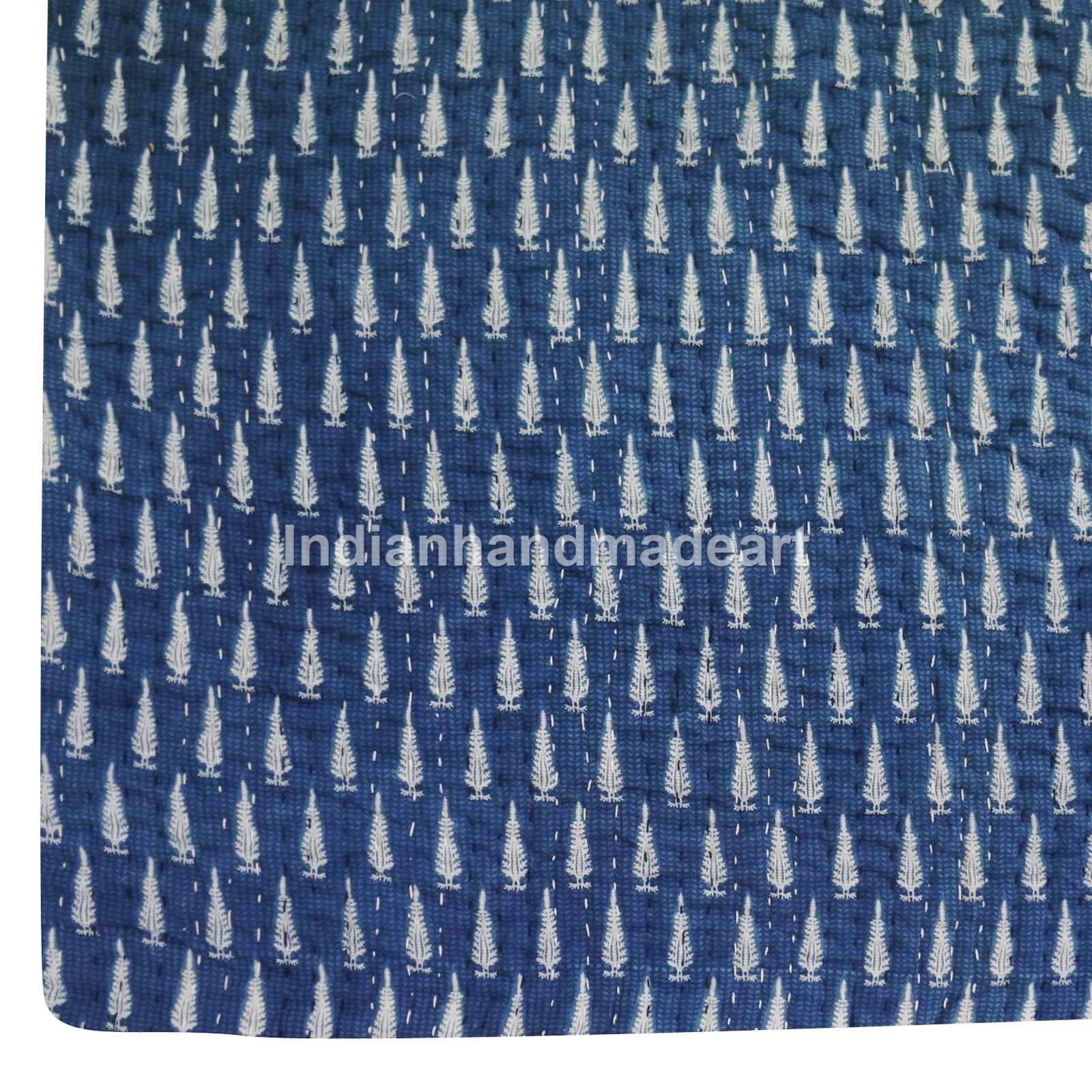 Kantha Quilt Queen Size Indigo blueeee Fabric Jaipuri pure 100% Cotton Warm quilts