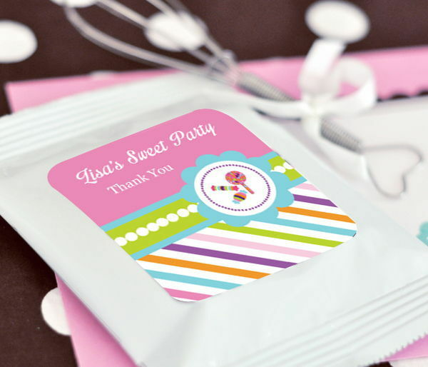 24 Personalized Sweet Shoppe Theme Hot Cocoa Mix Pouches Birthday Party Favors