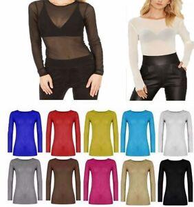 Women-Long-Sleeve-Sheer-Mesh-T-Shirt-Ladies-Round-Neck-See-Through-Celebrity-Top