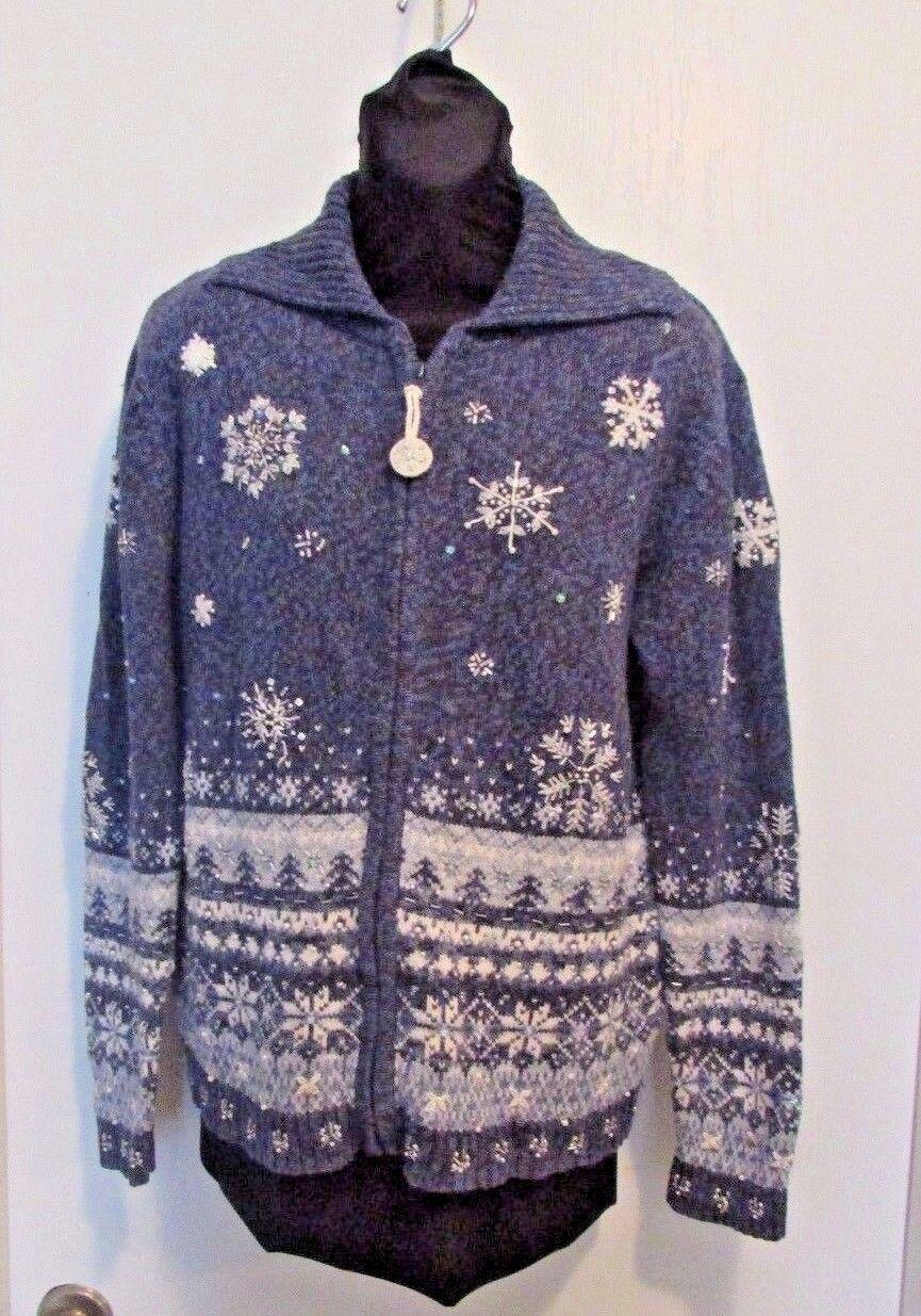 Tiara Int'l Sz L Snowflake Cardigan with full Zipper 100