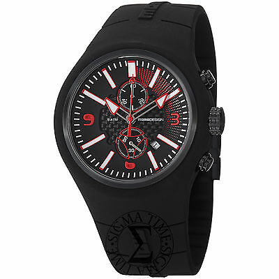 Momo Design Mens Mirage Chronograph Quartz Rubber Strap Watch MD1009BK-04BKRD-RB