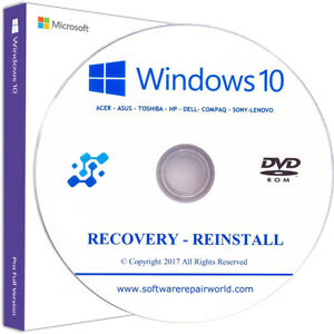 Windows-10-Professionnel-32-64-recuperation-reinstaller-PC-PORTABLE-DISQUE-DISQUE-DVD