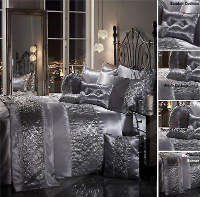Sparkle Sequin Luxury Diamante Duvet, Grey Silver Bedding