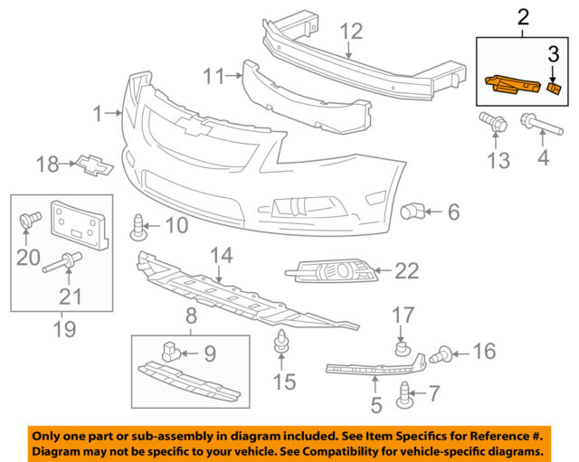 Chevrolet GM OEM Volt Front Bumper Grille Grill-Side Retainer Right 84079821