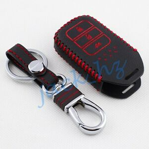 leather key case cover  honda accord crv city keychain fob accessories ebay