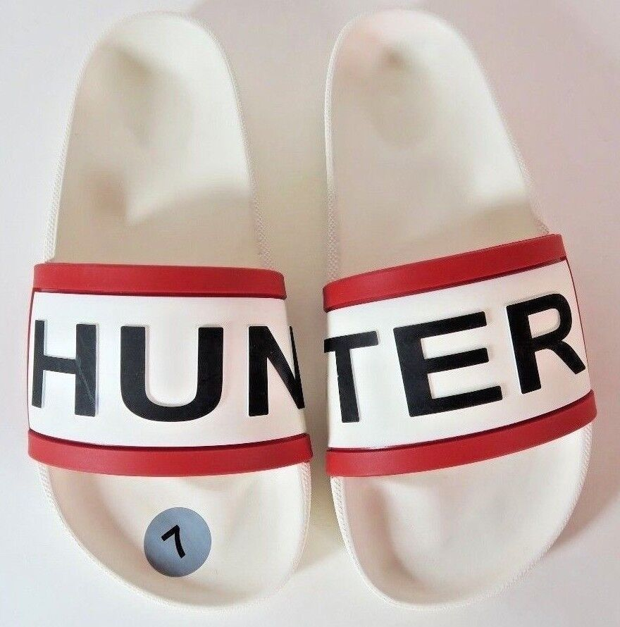 Hunter White Slides Red Black Logo Womens Size 7 100% Authentic