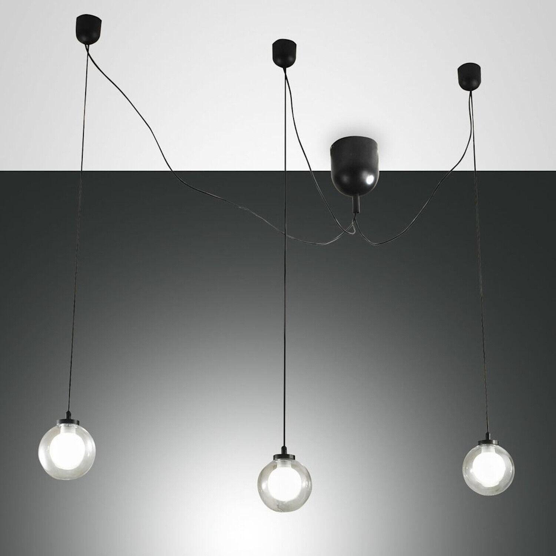 LED Pendel Leuchte Hänge Lampe LED Blog 3flg Fabas Luce 3472-47-101 schwarz