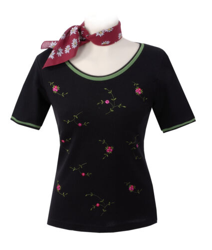 Trachtenshirt Trachten T-Shirt Damen Premium Qualität Schwarz-Grün