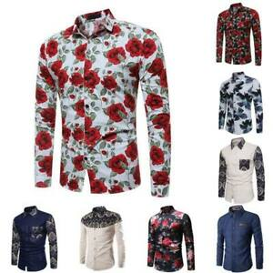 Long-sleeve-casual-dress-shirt-men-039-s-floral-formal-t-shirt-stylish-slim-fit
