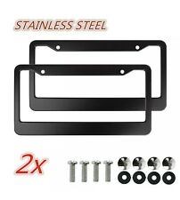 2pcs Black Metal License Plate Frame Tag Cover Screw Caps Stainless Steel New