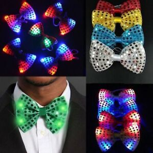 Mens Flashing LED Light Up Bow Tie Necktie Bow CHRISTMAS Party Lights Sequin New