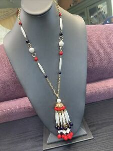 Vintage-1950-s-Red-White-Blue-USA-Pride-Lucite-Beaded-Tassel-Necklace-24-Long