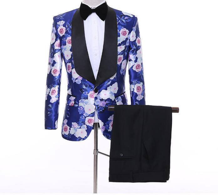 Men's Dress Floral One Button Blazers Printed Suits Wedding Party Coat Pants