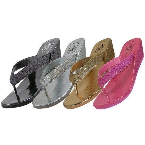 Women's Heel Glitter Flip Flops Wedge Heel Women's Black Silver Gold Pink Sizes 5-10 New 93c765