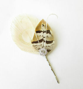 Royal Blue Ivory Cream Pheasant Peacock Feather Hair Clip Pin Bridesmaid 2383