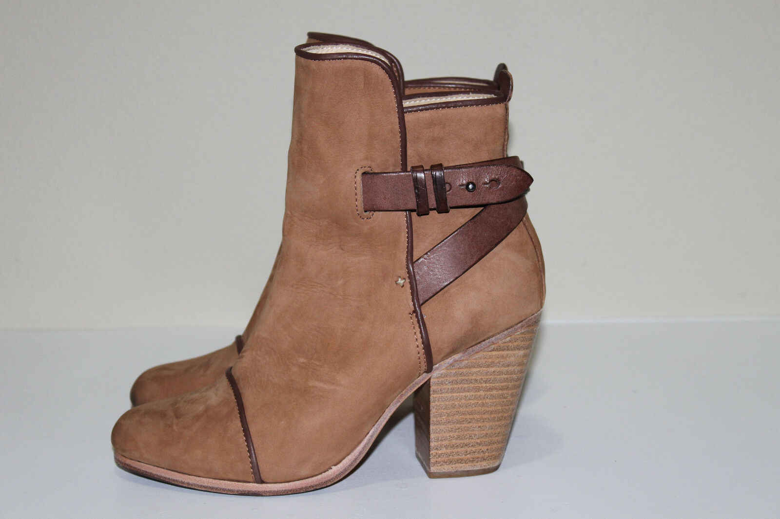 Rag & Bone 9.5 39.5 Kinsey Carmel Tan Suede Brown Strap Ankle Heel Bootie Shoes