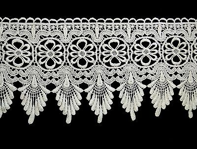 """Unotrim 8"""" White Floral Venise Lace Trim By Yardage Sewing Notions Supplies"""