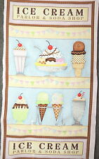Ice Cream & Soda Shop Quilting Fabric Panel #654