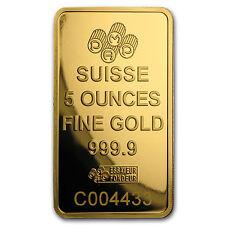 5 oz Gold Bar - PAMP Suisse Lady Fortuna Veriscan (w/Assay) - 88550