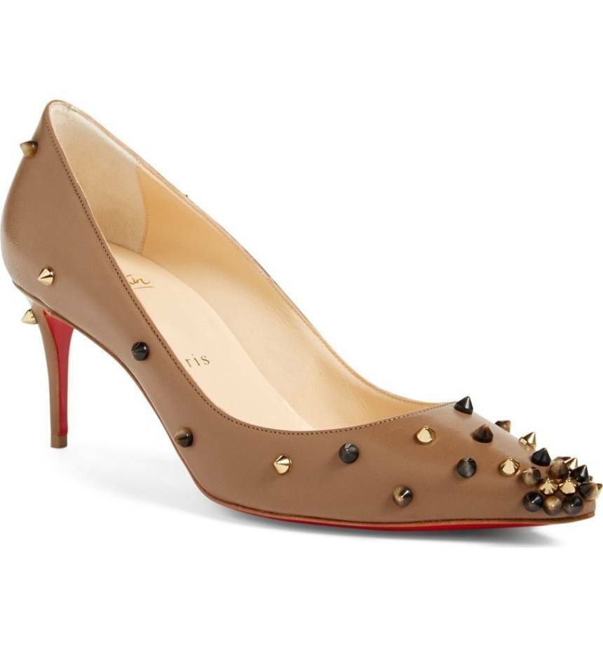 Christian Louboutin DEGRSPIKE Studs Pointed Pump shoes Taupe Popcorn Leather 7.5