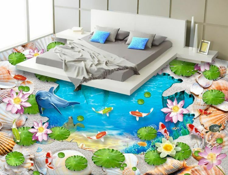 3D Blau Sea Dolphins 12 Floor Wall Paper Wall Print Decal Wall Deco AJ WALLPAPER