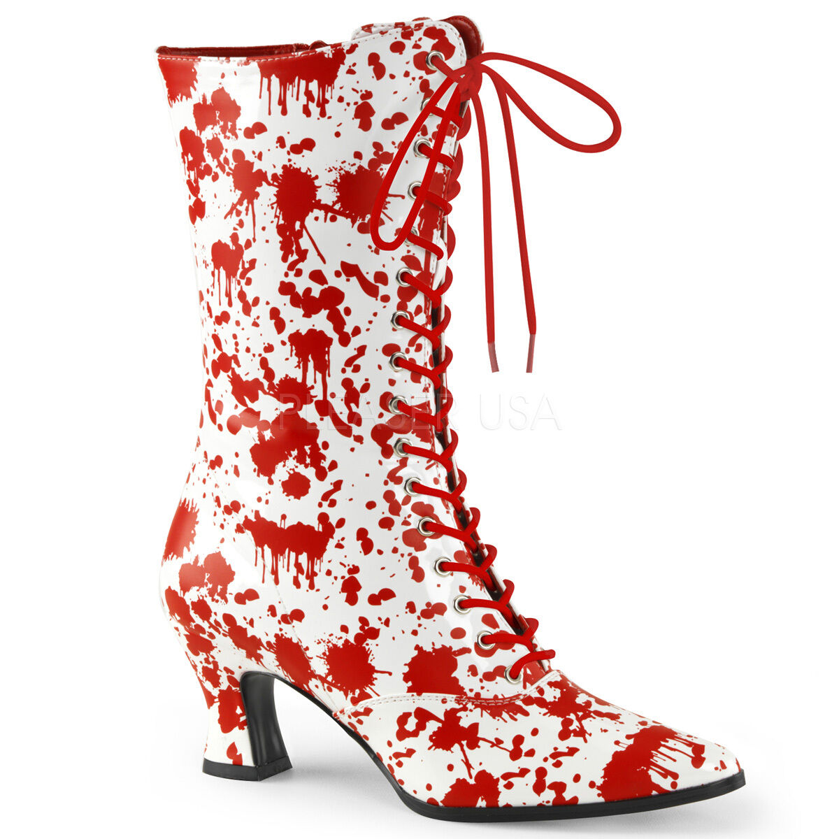 VIC120BL/W-R Women's Old Fashioned Victorian Blood Splatter Zombie Costume Boots