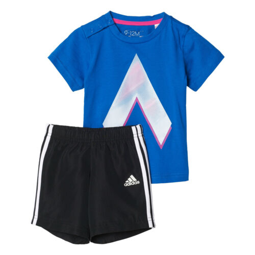 Adidas Infants Girls Set Running Tshirts Shorts Training Summer Set Kids BP5327