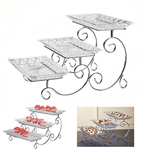 3 Niveau Rectangulaire Serving Platter, échelonné Barquette Alimentaire stand, trois plaque display