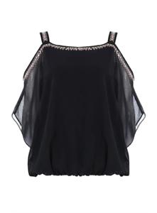 Brand New Ex Chainstore Black Embellished Cold Shoulder Top Sizes 10-20