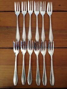 Set-12-Vintage-Silverplate-Bruckmann-90-Salat-Gebaeck-Gabeln-antik-Bestecke