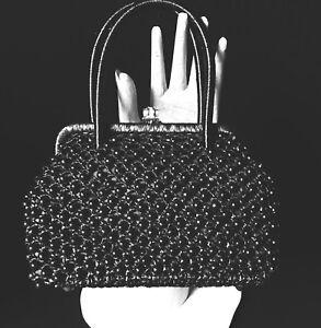 Vintage-Black-Beaded-Evening-Bag-Purse-Italy-1950s-Mini-Satchel-Gold-Clasp
