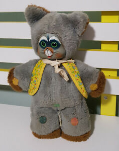 MATTEL-MUSICAL-LOVE-NOTES-PETS-PLUSH-TOY-RACCOON-FEET-HONK-RARE-1978-OLD-TOY