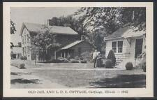 Postcard CARTHAGE Illinois/IL  Old Jail & Latter Day Saints Cottage 1952